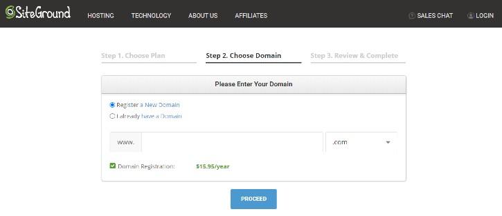 SiteGround domain register
