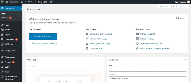 WP-Dashboard - start a WordPress blog with SiteGround