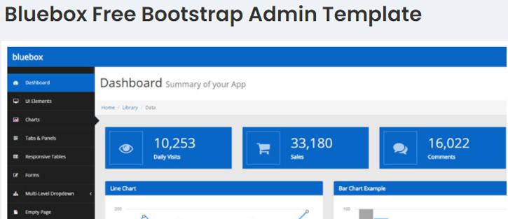 Bluebox - free dashboard templates