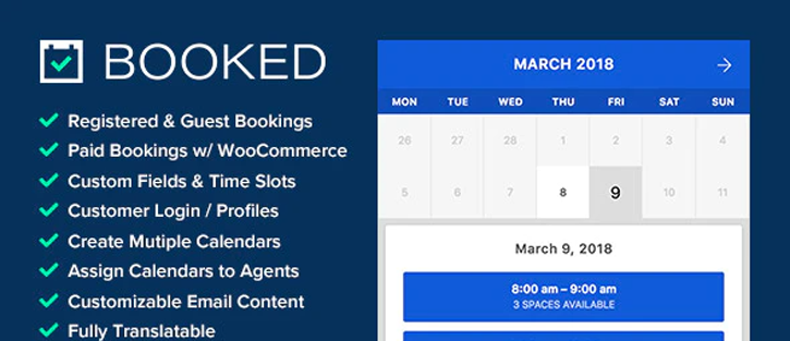 Booked – Appointment Booking WordPress Plugins